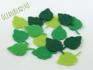 36 kleine Filz Grüne Blätter S (4 Farben),  Filz Applikation, Filz Formen