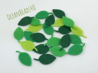 36 kleine Filz Grüne Blätter P( 4 Farben),  Filz Applikation, Filz Formen