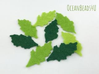 Filz grüne Blätter unregelmäßige Form J (2 Größen),  Filz Applikation, Filz Formen