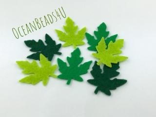 36 Filzgrün Blätter M (4 Farben),  Filz Applikation, Filz Formen