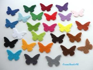 50 Filz Schmetterlinge (2.7x1.7cm, Farbe freie), klein Schmetterlinge Filz Formen