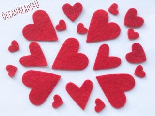 50 rote Filzherzen, Herzen Konfetti, Herzen Applikation