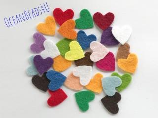 100 Mix Kleine Filzherzen A (Farbe - freie Wahl), Herzen Konfetti, Herzen Applikation