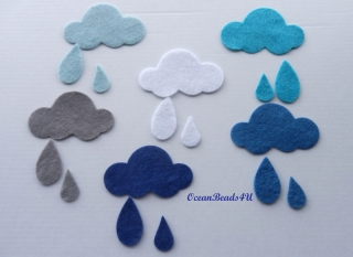 12 Filz Wolken und  Regentropfen, Wolken filz Formen, Filz applikation