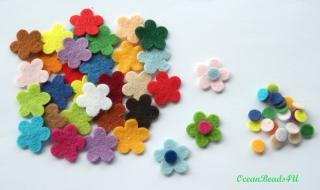 100 Mix Filzblumen (3.6 cm), Blumen filz Form, Blumen applikation