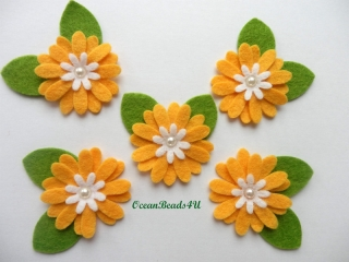 10 Filz Gelb Blume Applikationen, Blumen filz Form, Blumen applikation