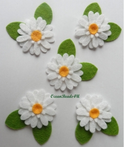 10 Filz weiße Blumen Applikationen, Blumen filz Form, Blumen applikation