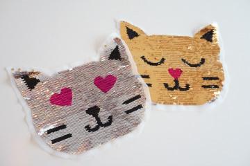 Wendepailletten Patches / Aufnäher Katzengesicht