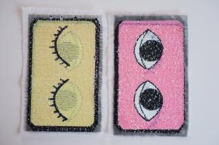 Wendepailletten Patches / Aufnäher Augen gelb / rosa