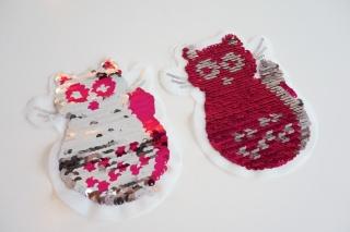 Wendepailletten Patches / Aufnäher Katze pink / silber