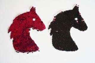 Wendepailletten Patches / Aufnäher Pferd schwarz / pink