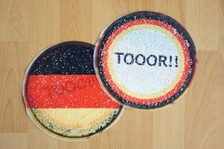 Wendepailletten Patches / Aufnäher Tor schwarz / rot / gold