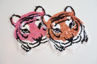 Wendepailletten Patches / Aufnäher Tiger orange / rosa