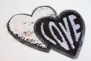 Wendepailletten Patches / Aufnäher Herz / Love - schwarz / silber