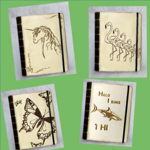Notizbuch A6 Tiere Pappelholz ☆ Einhorn ☆ Hai ☆ Flamingo ☆ Schmetterling