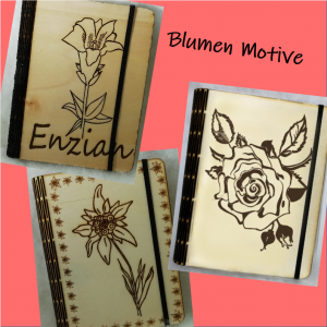 Notizbuch A6 Blumen Pappelholz ☆ Edelweiß ☆ Bayern ☆ Enzian ☆ Rose ☆ Alpen ☆ Garten