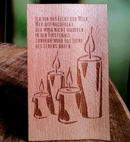 Postkarte Funier Buche Holz gelasert ✄ Kerze  ✄ Segen