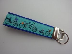 Schlüsselanhänger Radfahrer blau türkis