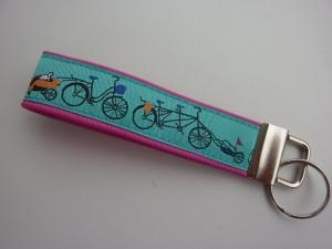 Schlüsselanhänger Radfahrer pink türkis