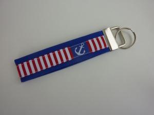 Schlüsselanhänger Anker blau/weiß/rot