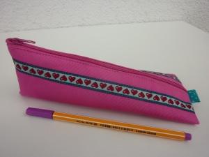 Stiftemäppchen Federmäppchen HERZCHEN in pink und türkis