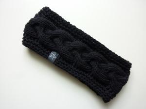 Stirnband schwarz mit Zopfmuster handgestrickt