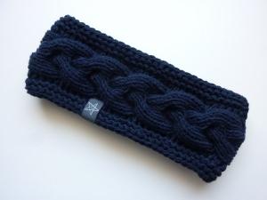 Stirnband dunkelblau mit Zopfmuster handgestrickt