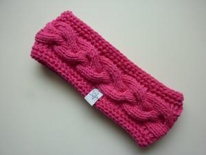 Stirnband pink mit Zopfmuster handgestrickt