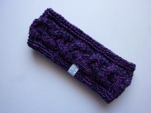 Stirnband violett/dunkelblau mit Zopfmuster handgestrickt