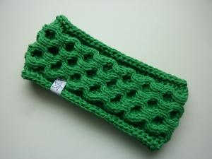 Stirnband grün mit Wabenmuster handgestrickt