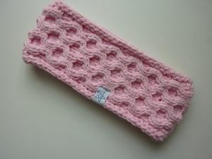 Stirnband rosa mit Wabenmuster handgestrickt