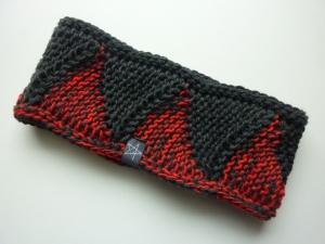 Stirnband anthrazit rot Schurwolle