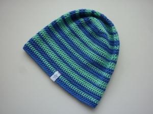 Sommermütze Häkelmütze blau mintgrün Baumwolle