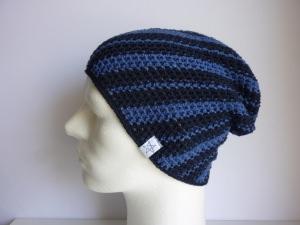 Häkelmütze Sommermütze dunkelblau blau Baumwolle