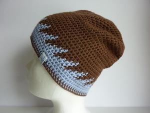 Sommermütze Häkelmütze braun hellblau Baumwolle