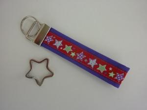 Schlüsselanhänger STERNE in lila mit extra Stern-Schlüsselring