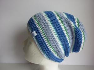 Häkelmütze Sommermütze weiß blau grün gestreift aus Baumwolle