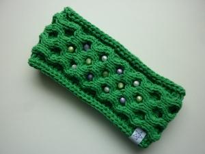 Stirnband Grün mit Perlen handgestrickt
