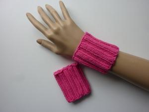 Pulswärmer Schweißbänder pink Baumwolle