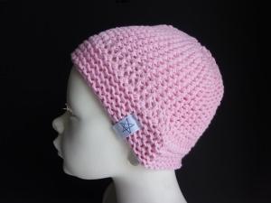 Babymütze Gr. 41 - 46 Rosa aus Baumwolle handgestrickt