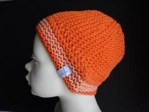 Babymütze Gr. 41 - 46 Orange aus Baumwolle handgestrickt