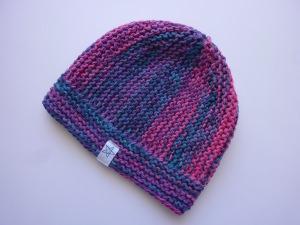 Kindermütze Gr. 46 - 51 Pink Violett Blau aus Baumwolle
