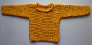 Kinderpulli Gr. 104/110 in Gelb handgestrickt