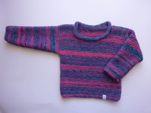 Kinderpulli Gr. 104/110 Pink Violett Blau handgestrickt