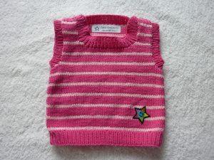 Baby-Pullunder Gr. 62/68 pink/rosa gestreift handgestrickt