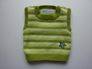 Baby-Pullunder Gr. 62/68 grün gestreift handgestrickt
