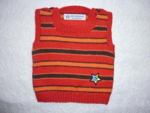 Baby-Pullunder Gr. 62/68 rot/orange/braun gestreift handgestrickt