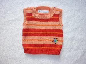 Baby-Pullunder Gr. 62/68 rot/apricot/orange gestreift handgestrickt