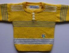 Babypulli Gr. 74/80 gelb, grau, weiß gestreift aus Baumwolle handgestrickt