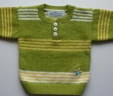 Babypulli Gr. 74/80 kiwi, gelb, weiß gestreift aus Baumwolle handgestrickt